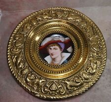 Antique German Porcelain Hand Painted Portrait Brass Repouse Wall Charger Frame