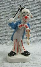 "1980's Homco 6"" Clown w Violin Fiddle Hand Painted Porcelain Figurine Free S/H"