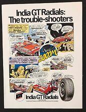 Vintage 1972 Motor Sport Magazine Ad, INDIA GT RADIAL TYRES, CARTOON, FORD CAPRI