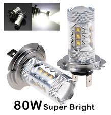 2 X H7 12V 80W Super Bright White LED Fog Tail Driving Car Head Light Lamp Bulbs