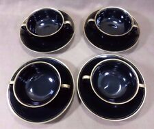Set of 4 Cream Soup Bowls & Saucers Fitz & Floyd HARLOW Fine Porcelain Japan 214