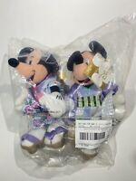 NWT Disney Store Globe Japanese Kimono Mickey & Minnie Mouse Bean Bag Plush