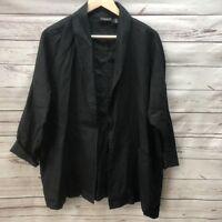 Adrienne Vittandini Black Linen Blazer M Oversize Shirt 3/4 sleeves Womens Open