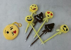6 X EMOJI PENS PARTY FAVORS KIDS KEEPSAKE GIFTS PLUSH YELLOW AND A COIN POUCH