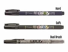 Tombow Fudenosuke Brush Pen 3 Type Set, Hard (Gcd-111), Soft (Gcd-112), Dual Bru