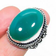 Green Onyx Gemstone Ethnic Handmade Gift Jewelry Ring Size 8.5 RL-7182