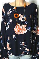 H&M Bluse Gr. 44 dunkel-blau Langarm Bluse/Tunika mit weiß-orangen Blumen
