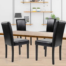 Black Set of 4 Leather Contemporary Dining Wood Chairs Elegant Design Home Room