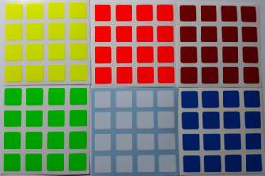 Magic Cube Stickers 4x4 60mm Yuxin Lion Half Bright Fluo Colours
