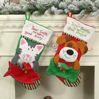 Pet Stocking Fun Personalised Embroidered Cat Dog Christmas Stocking Xmas Decor~