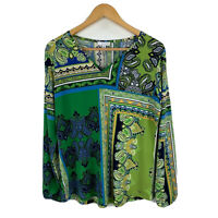 W Lane Womens Top Size Medium Green Paisley Long Sleeve V-Neck New With Tags