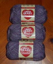 Red Heart Stardust Yarn Lot Of 3 Skeins (Purple #1530)