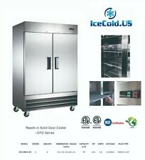 Reach-In Solid Two Door Commercial Refrigerator CFD-2RR-E-HC Stainless Cooler