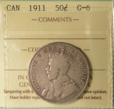 1911 CANADA  Silver 50 Cents - ICCS G-6  -  Serial # XYJ 494