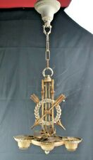 Antique Cast Metal Chandelier/Hanging Light Fixture Crossed Arrows and Laurel Wr