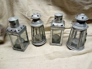 MOROCCAN STYLE HANGING GLASS LANTERN TEA LIGHT HOLDERS x4 HOME GARDEN