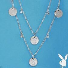 NEW Playboy Necklace Bunny Charm Logo Swarovski Crystal Long Chain Silver Plated