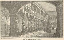 C8349 Belgium - Liége - Justice palace - Stampa antica - 1892 Engraving