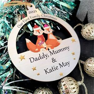 Personalised First Christmas as Mummy Daddy Tree Bauble Baby Girl 1st Xmas Gift