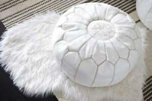 Moroccan Genuine Leather Boho Pouf Ottoman Footstool Pouffe Tan Brown expr. ship