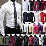 Luxury Mens Dress Shirt Long Sleeve Slim Fit Formal Business Wedding Shirts XXL