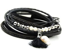 Black Leather Wrap Bracelet with AB Glass Beads Real Pearls and Tassel Uk