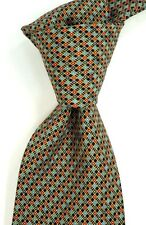 Mint Brioni Teal Navy Red Black & Gold Geometric Print Silk Neck Tie ITALY