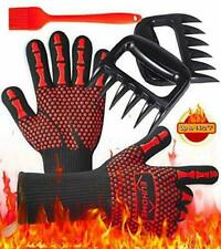 3 in 1 Grilling Set Accessories Extremely Heat Resistant Gloves Bbq, Grill Brush