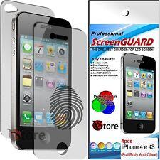 4 Pellicola Opaca Per iPhone 4S 4 Proteggi Schermo 2 Fronte 2 Retro Antimpronta