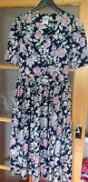 LAURA ASHLEY VINTAGE NAVY ROSE FLORAL TEA PARTY DRESS UK 8-10 COTTON VGC