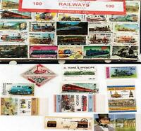 100 Different Railways Locomotive Trains Commemorative Edition World Stamps Rare