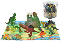 DINOSAUR 18PCS TUB - TY660 PLAY MAT T REX DINOSAURS IN A JURRASIC KIDS FUN TOY