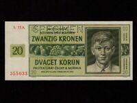 Bohemia & Moravia:P-9s,20 Kronen/Korun,1944 * Specimen * Boy * UNC *