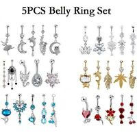 14G Unique Dangle Belly Button Ring Lot Body Piercing Navel Barbell Jewelry