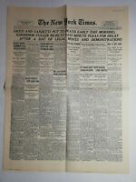 N1015 La Une Du Journal The New York times 23 August 1927 Boston, Chaplin
