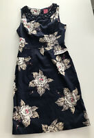 Ladies Smart Fitted Summer Dress. Navy Floral Jewelled Collar. Size 8. Joules