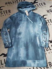 New Women's HOLLISTER Lace-Up Sweatshirt Dress Size S Dark Blue tie-dye Oversize