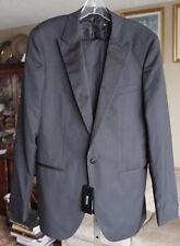 BNWT New mens US 38 L Hugo Boss black gray tuxedo blazer jacket coat suit pants