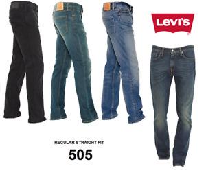Genuine LEVIS 505 Jeans Straight Regular Fit Original Mens Denim levi RRP £65!!