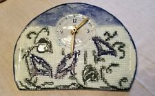 Pottery Morning Glory Clock Signed Dated