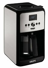 Krups EC314 Programmable 12 Cup Coffee Maker Stainless Steel Body LED Control