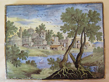 Ancient Ceramic Tile of Castles Abruzzo time Eighteenth Century Xviii