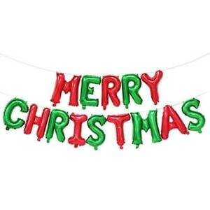 """16"""" Red Green MERRY CHRISTMAS Foil Balloon Banner Bunting Xmas Decorations"""