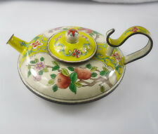Chinese Ornament Cloisonne Enamel white yellow round copper Teapots 1pc H131