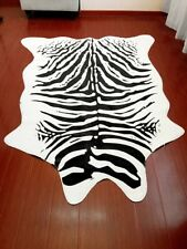 Animal Printed 6.9'x4.6' Zebra Hide Cow Faux Fur Rug Mat Carpet Blanket Washable