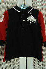 "POLO RALPH LAUREN T-Shirt 9 Mos. Dual Match Big Pony Two Polo Players ""3"" Shirt"