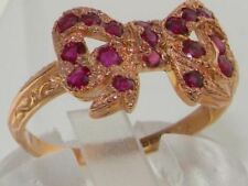 Luxury 9ct Rose Gold Ladies Colorful Ruby Vintage Style Bow Ring