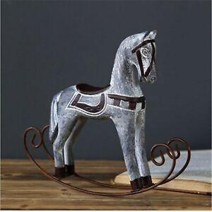 Creative Retro White Figurines Home Decoration Europe Style Wooden Rocking Horse