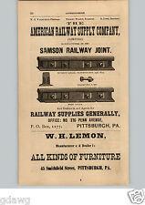 1876 PAPER AD American Railway Supply Company WH Lemon Furniture Pittsburgh PA