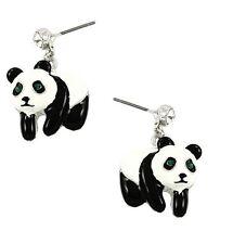 PANDA BEAR BLACK AND WHITE ENAMEL AND GREEN RHINESTONE EYES DANGLE EARRINGS